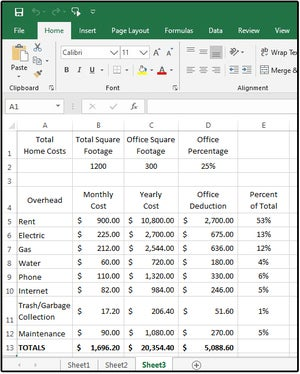 003 percentage of totals for home office deduction and overhead