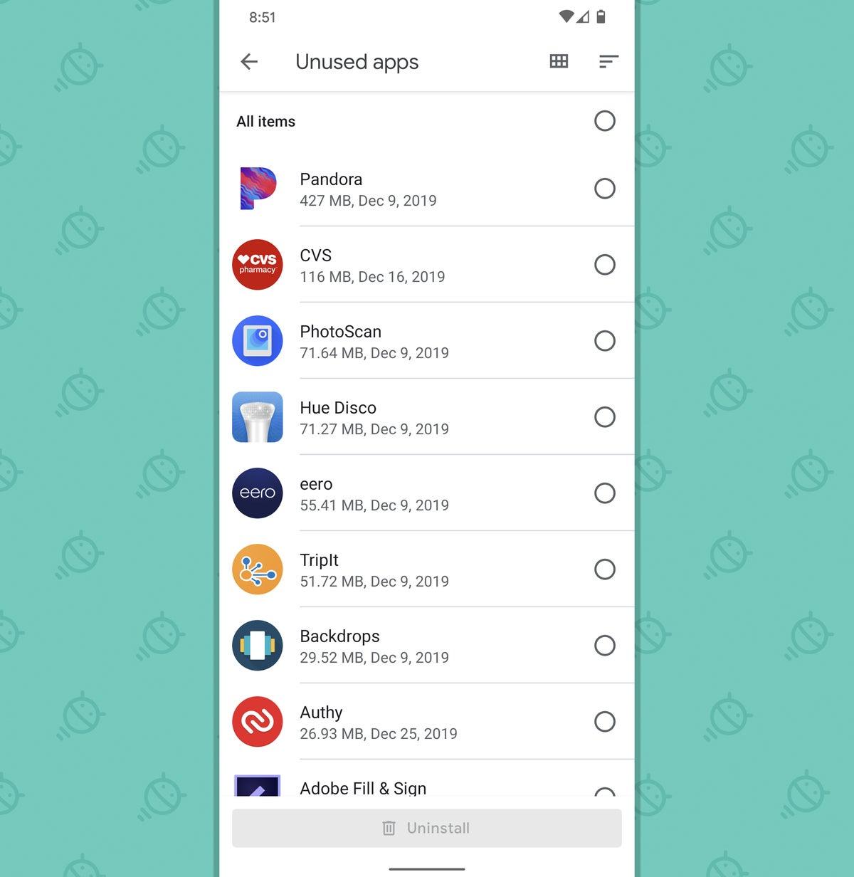 Optimización del teléfono Android: aplicaciones no utilizadas