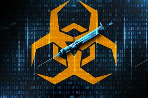 Antivirus digital syringe and virus/biohazard symbol in binary matrix