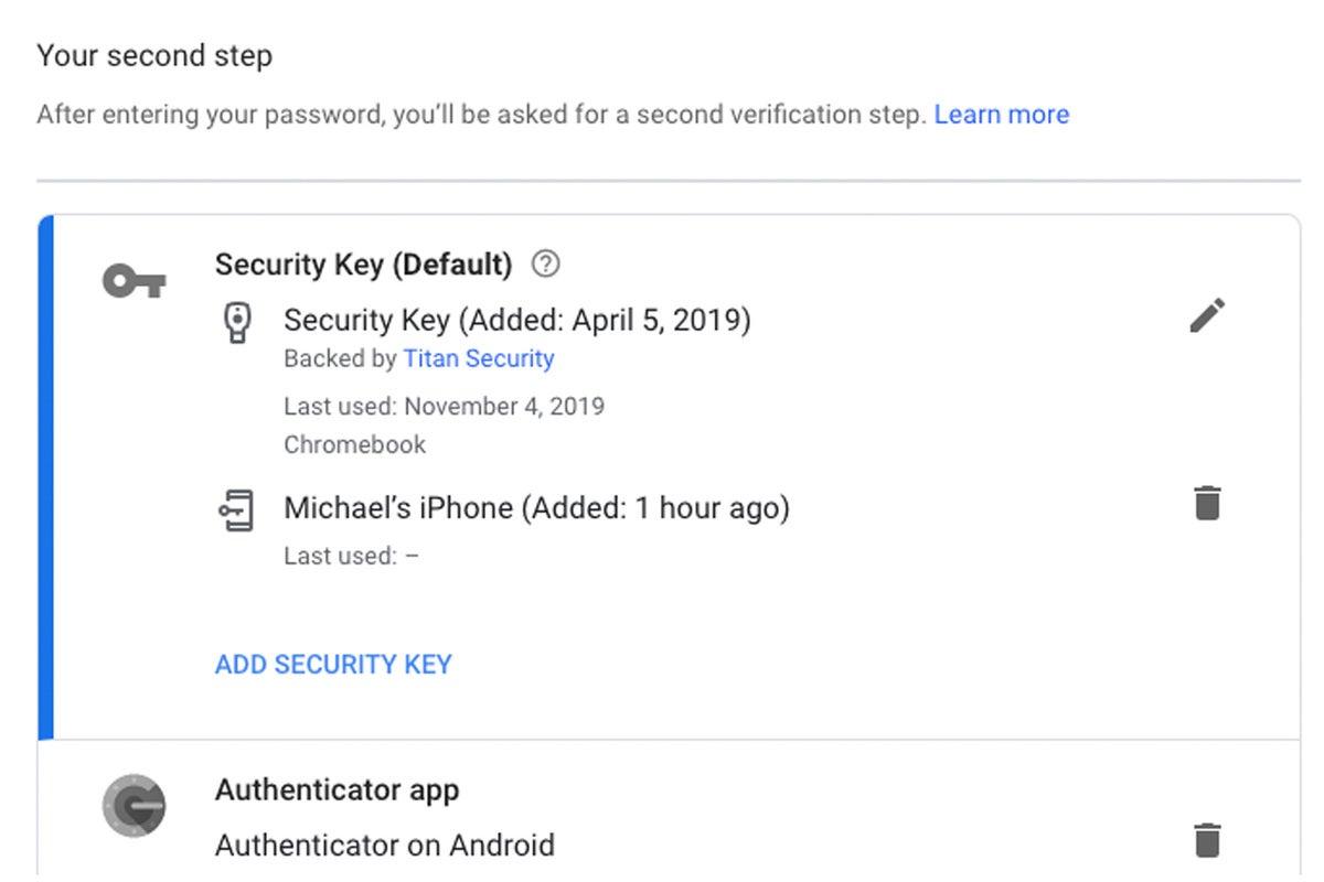 google account security key