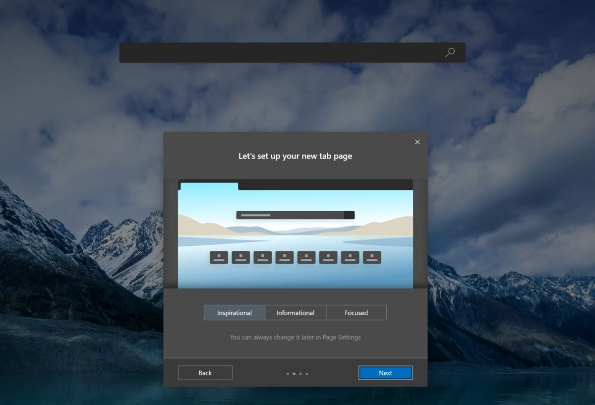 microsoft edge new tab page