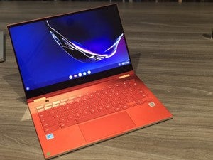 samsung galaxy chromebook red front angle