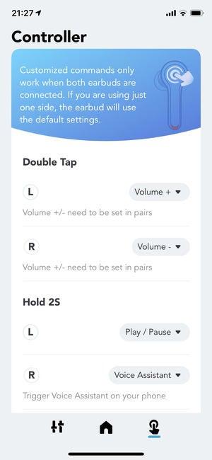 soundcore app screenshot of controller screen