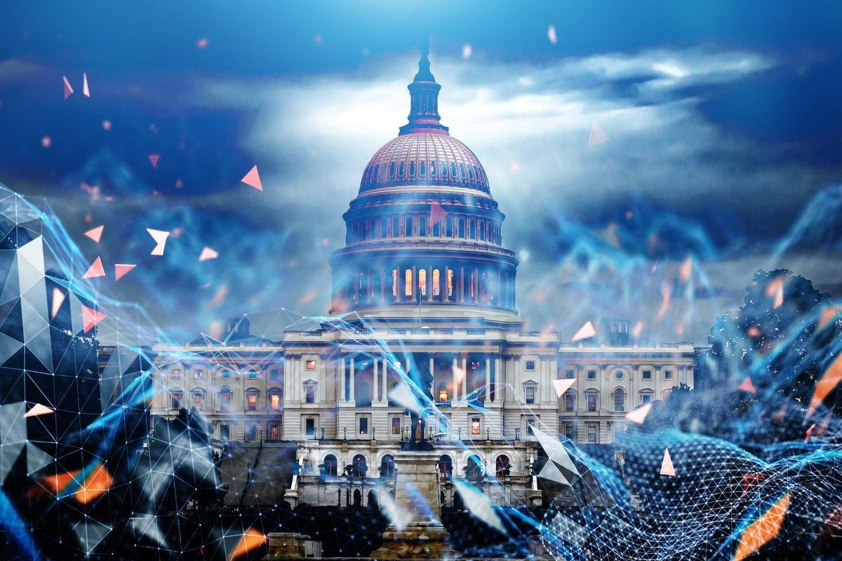 cybersecurity visual concept superimposed on photo of U.S. Capitol | photo credit mcdustelroy and dkosig of getty images