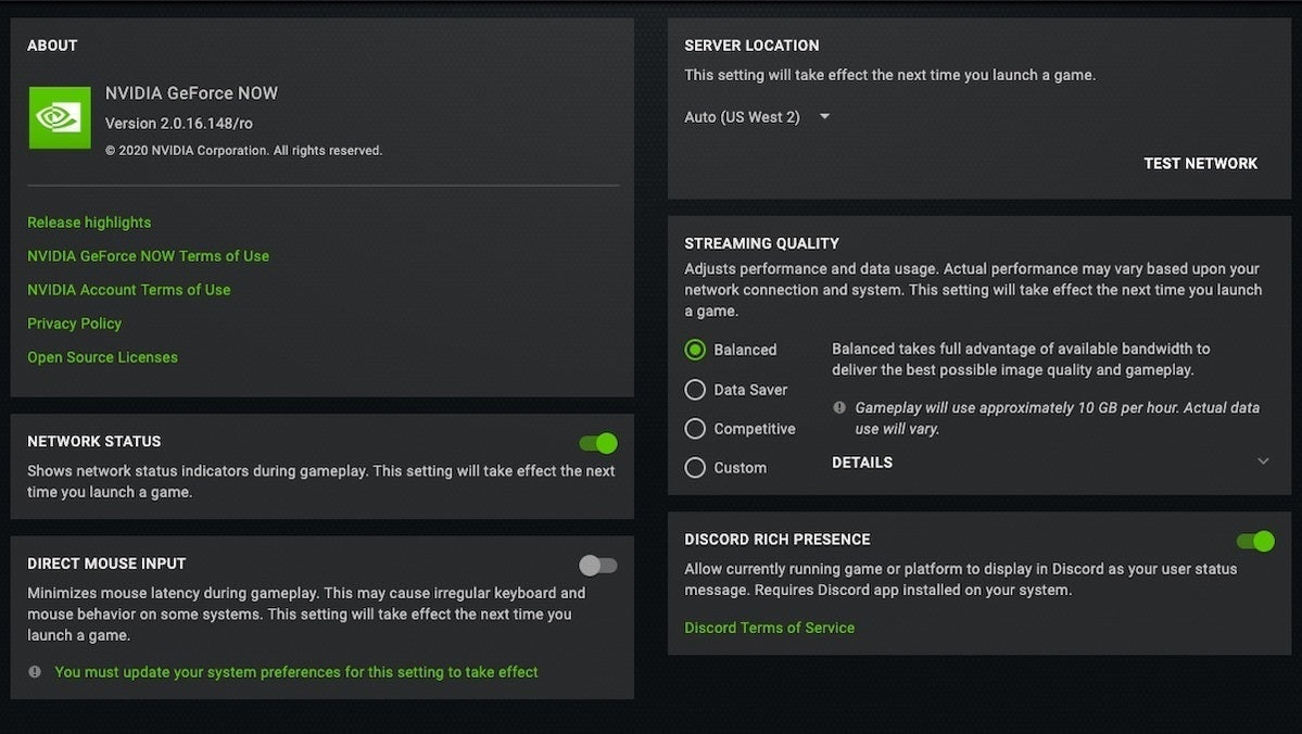 geforce now options