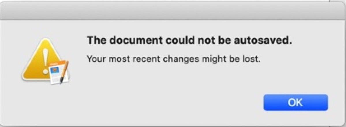 mac911 cannot autosaved
