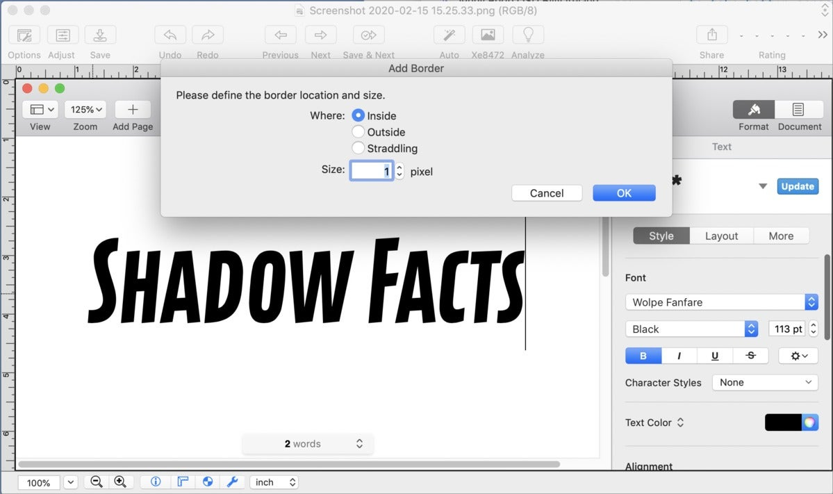 mac911 drop shadow graphic convertor border