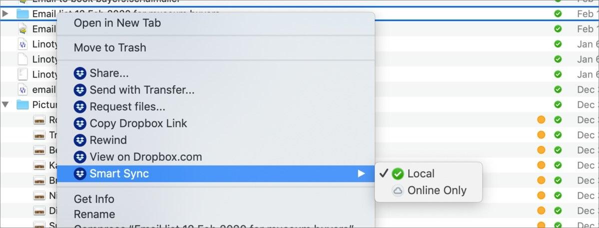 mac911 dropbox online only