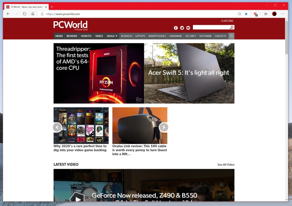 Microsoft नए किनारे PCworld होमपेज