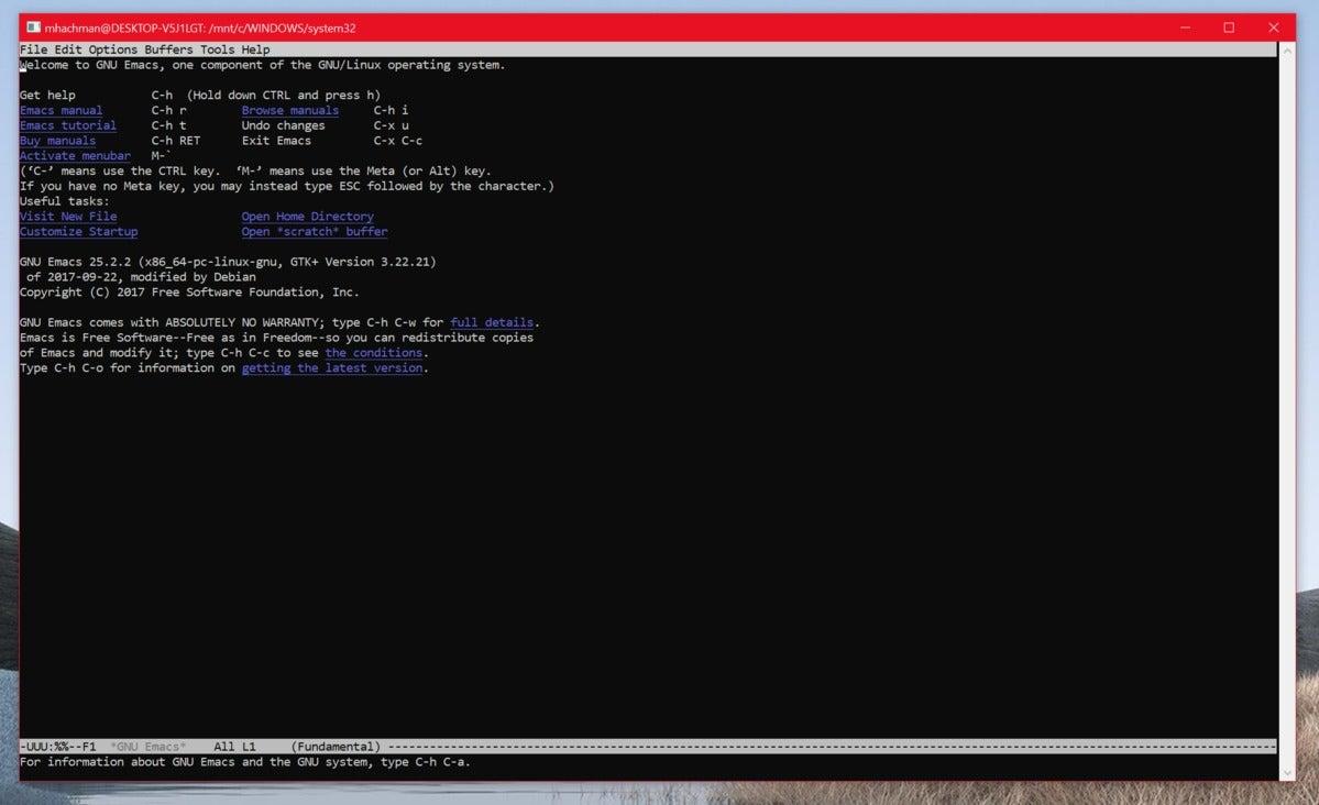 microsoft windows 10 20h1 bash emacs