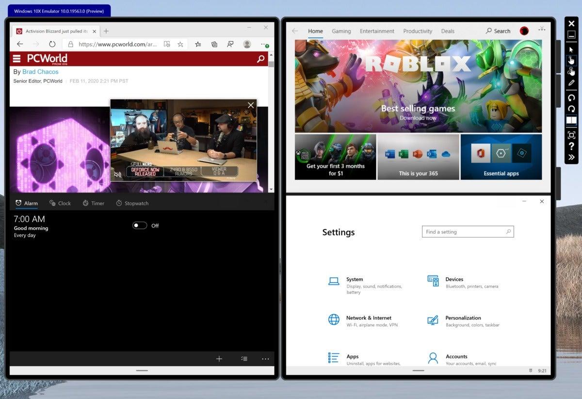 microsoft windows 10x four apps open