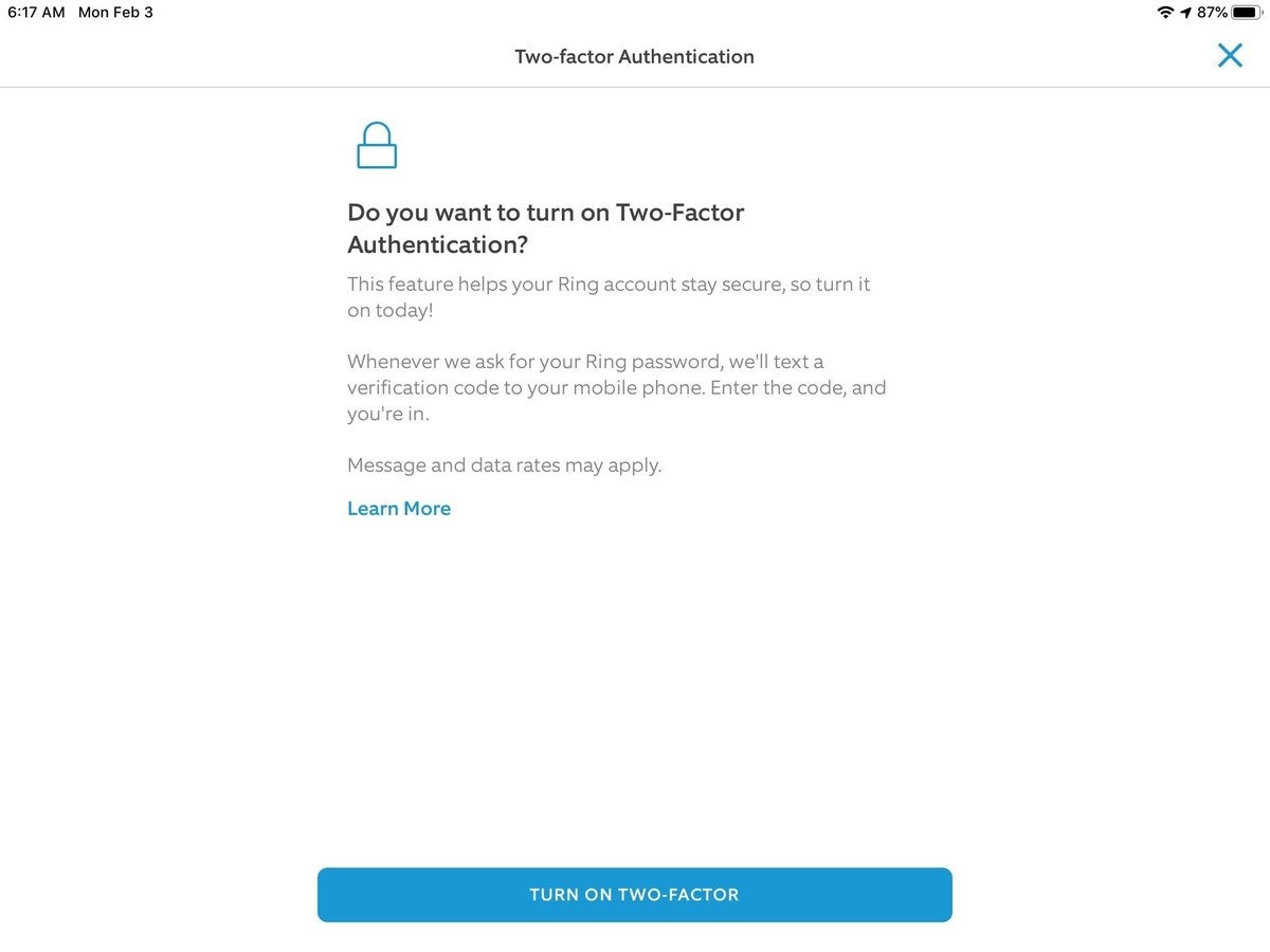 ring setting up two factor authentication 2