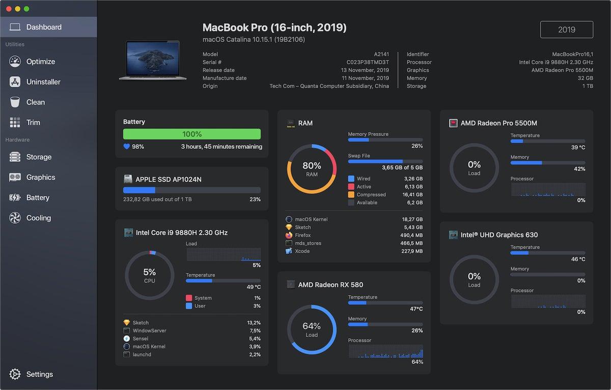 sensei dashboard macbook pro