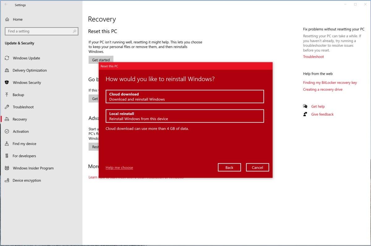 Microsoft windows 10 20h1 cloud reset larger