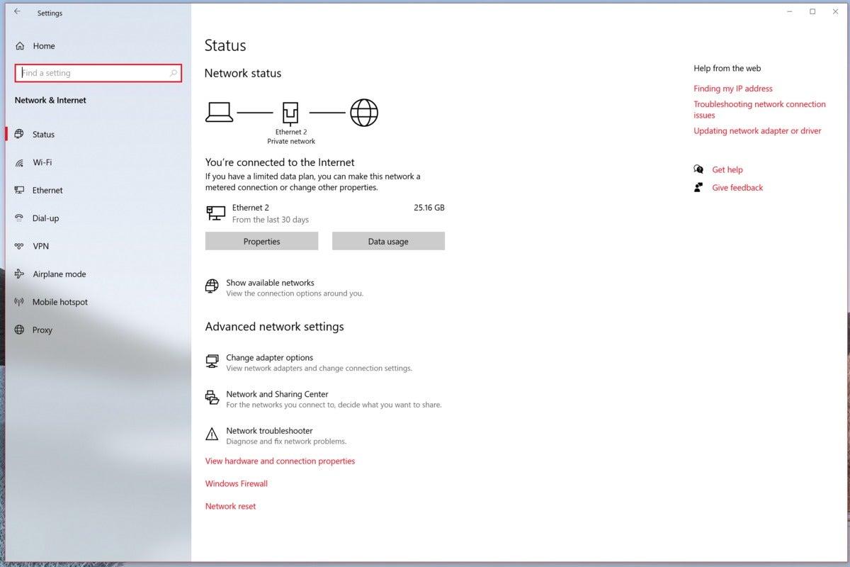 windows 10 20h1 network status page microsoft