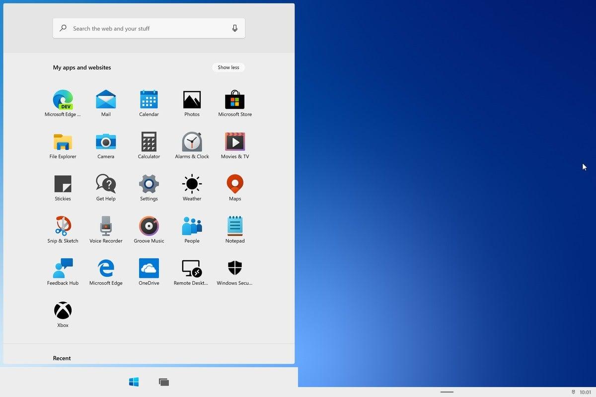 windows 10x all apps start menu