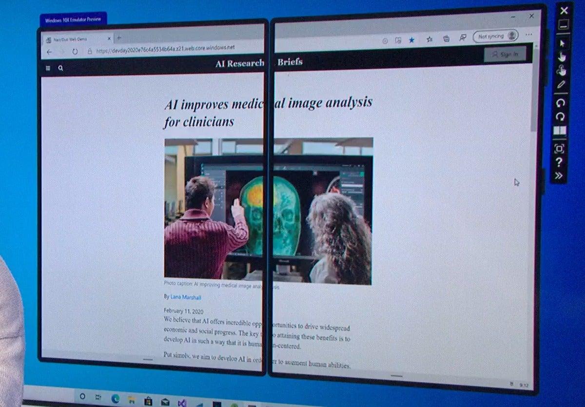 Microsoft windows 10x Surface Neo  edge across two screens
