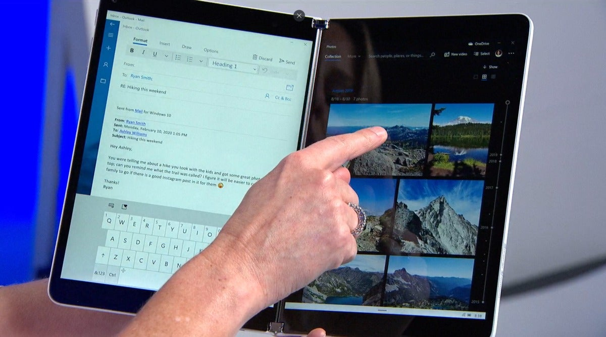 Microsoft Windows 10X Surface Neo windows 10x mail and photos