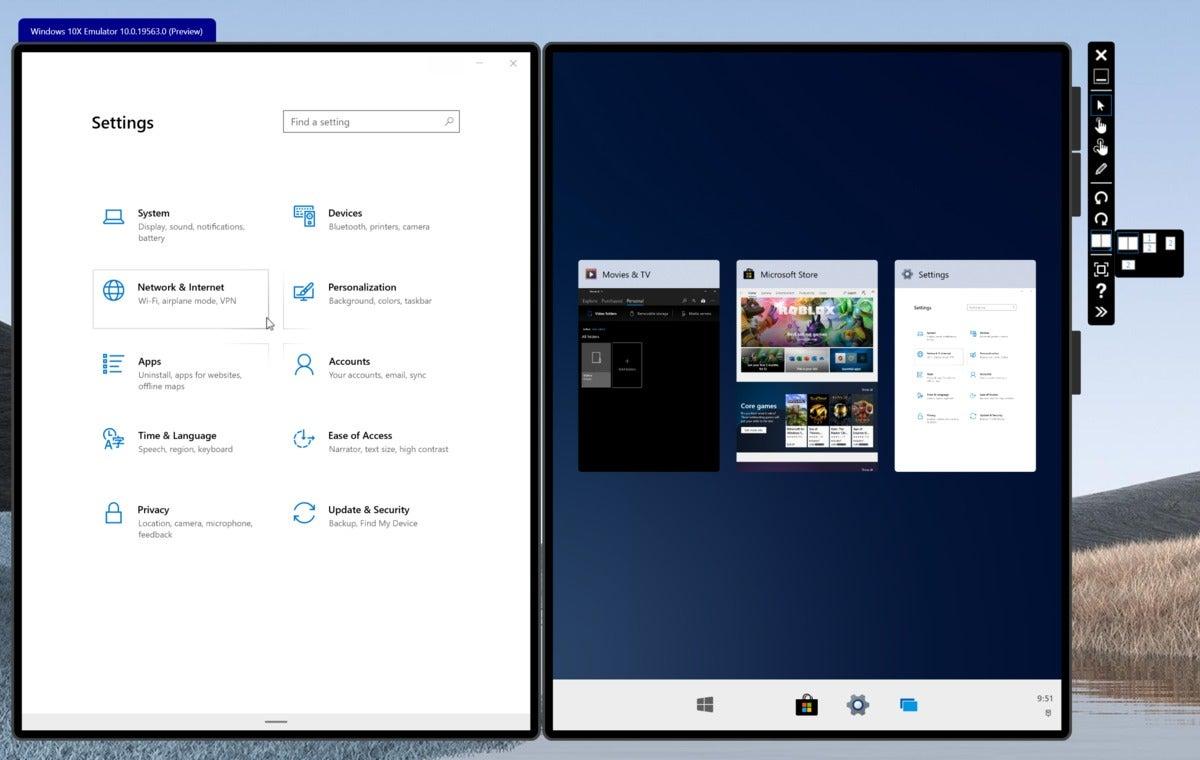 Microsoft windows 10x task view correct