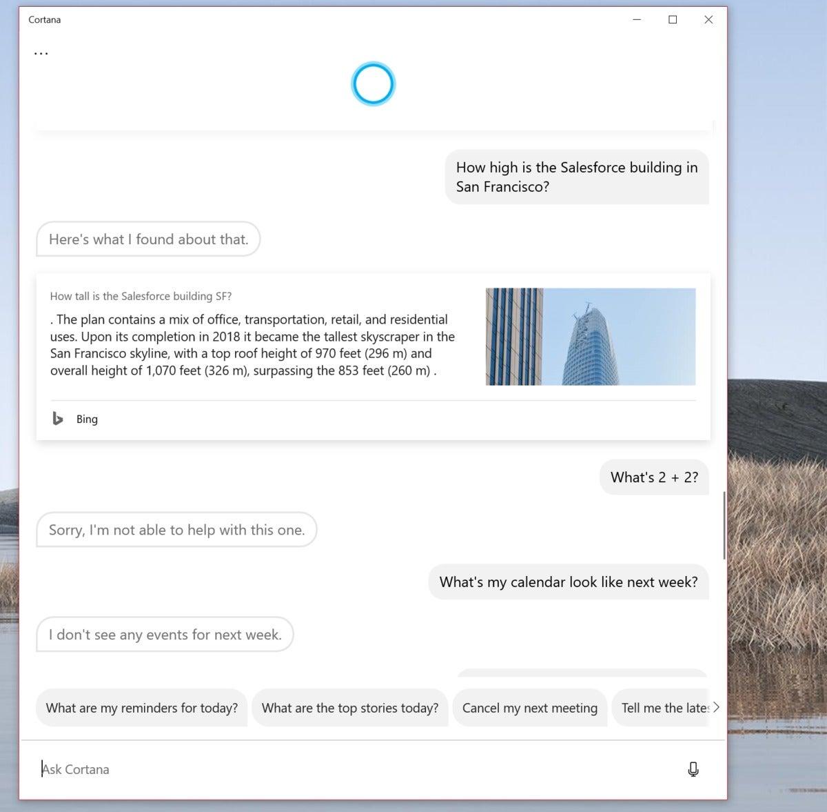Microsoft windows 20h1 cortana 2 basic math