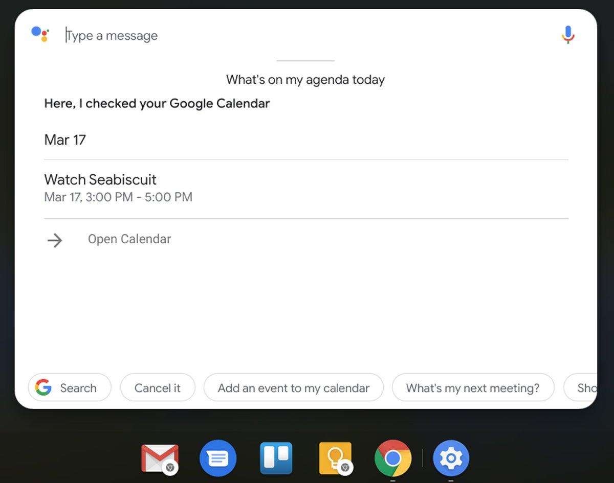 Funciones de Chrome OS: Asistente