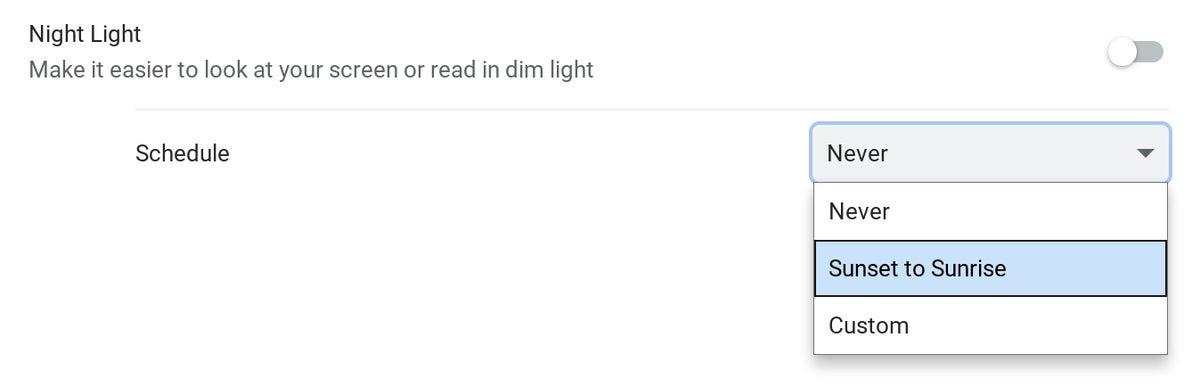 Características del sistema operativo Chrome: luz nocturna
