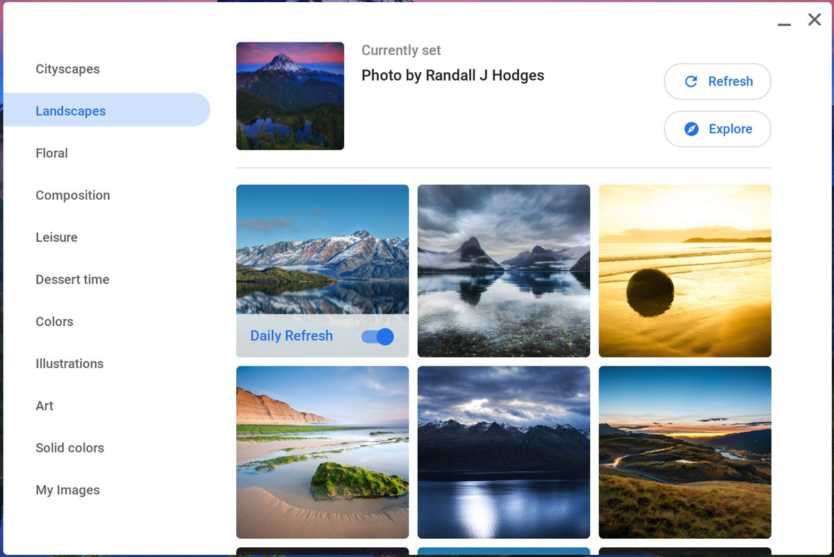 Características de Chrome OS: Fondo de pantalla