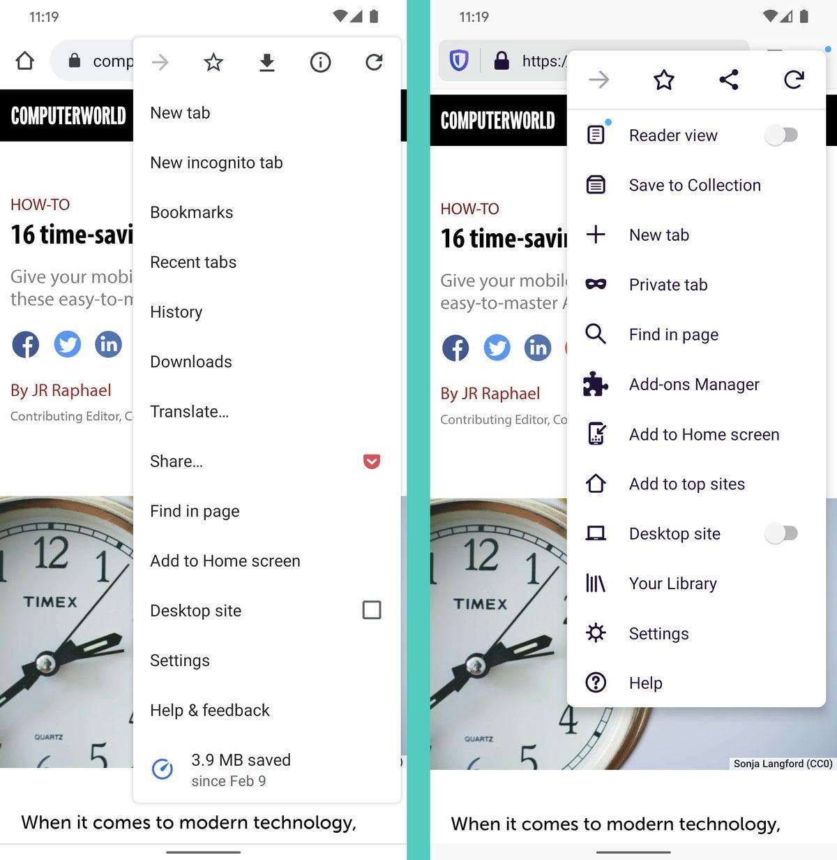 Chrome vs.Firefox Android (configuración)