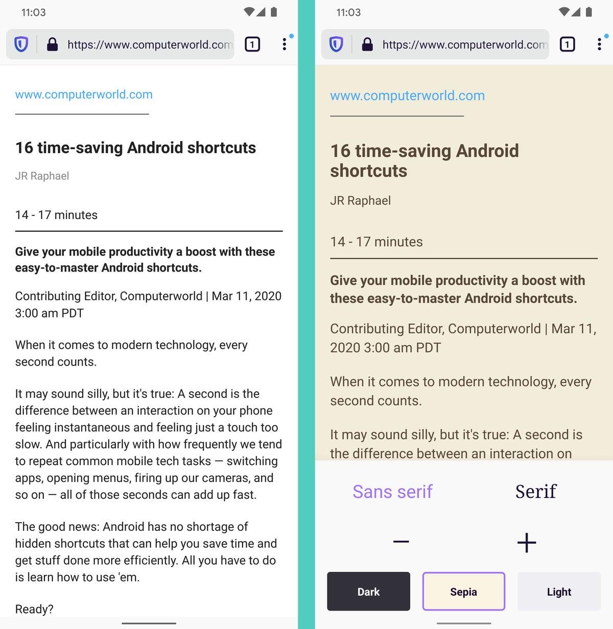 Vista del lector de Android de Firefox