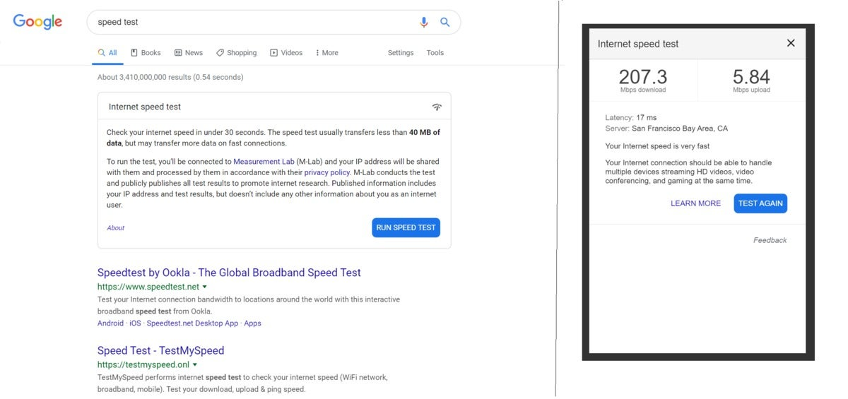 resultados híbridos do teste de velocidade do google