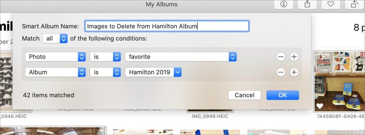mac911 smart album for deletion photos