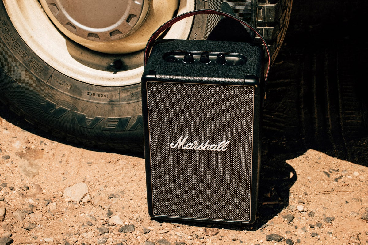 Marshall Tufton Bluetooth Speaker Review Loud Thumpy With A Long Life Battery But Pricey And Lacking In Amenities Techhive