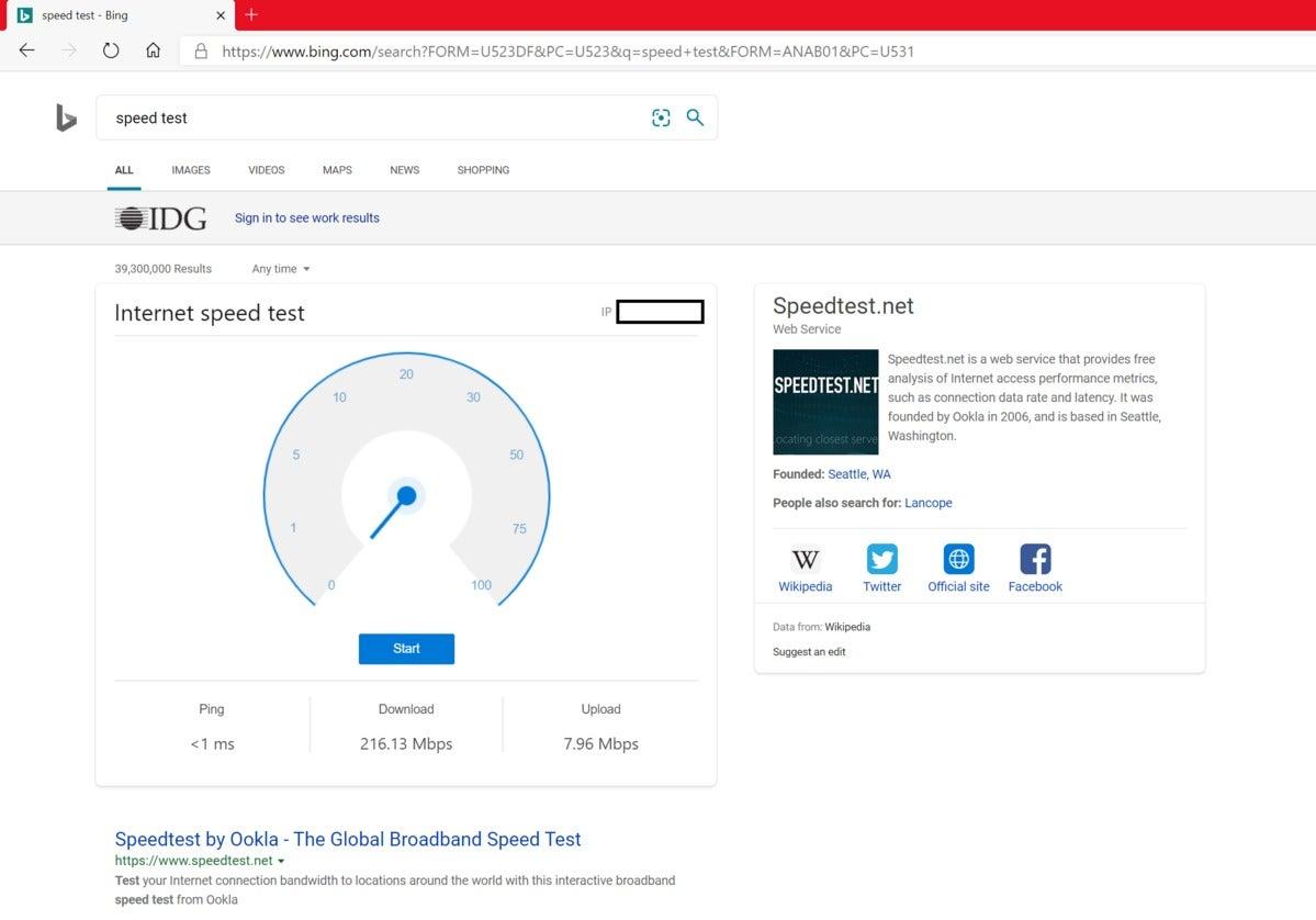 teste de velocidade de manutenção de tecnologia editado Bing