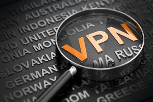 VPN / network security / magnifying lens / country names