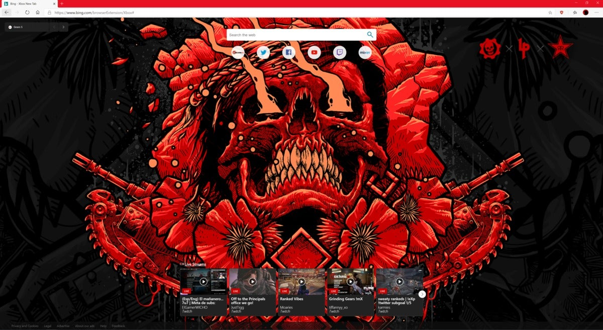 xbox new tab extension for microsoft edge gears 5 skull