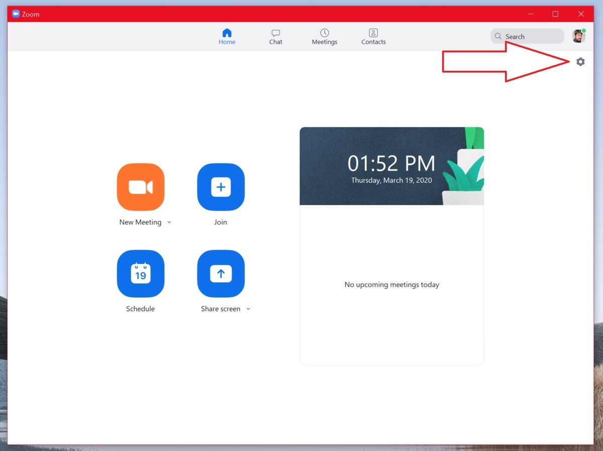 zoom main screen arrow