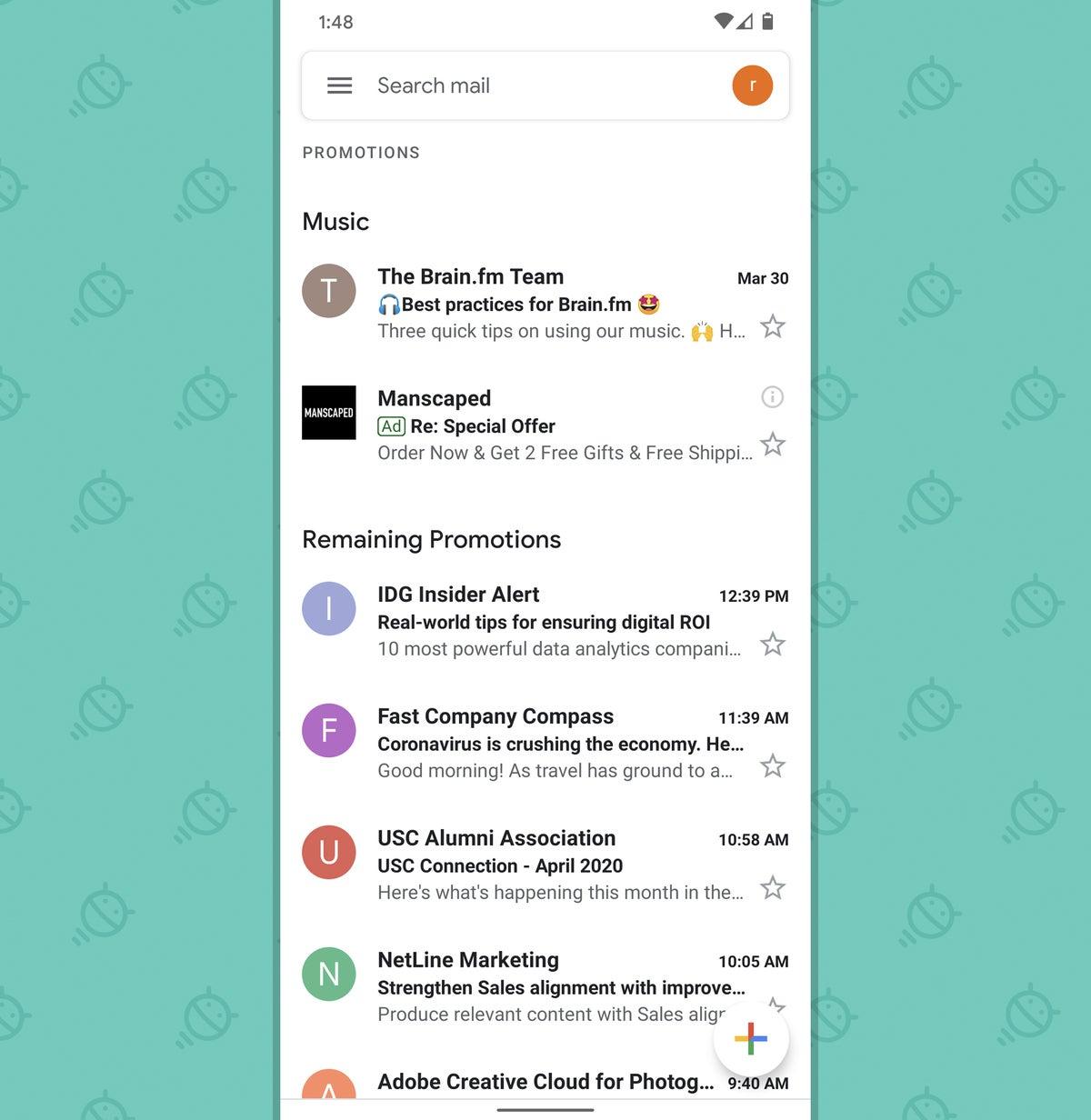 Aplicación Gmail para Android: Promociones