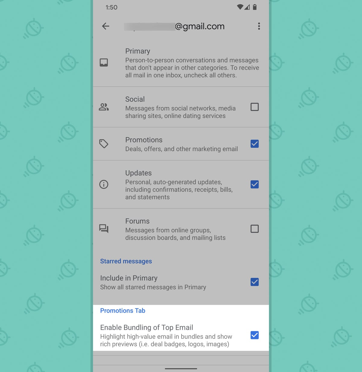 Gmail app for Android: settings for promotions