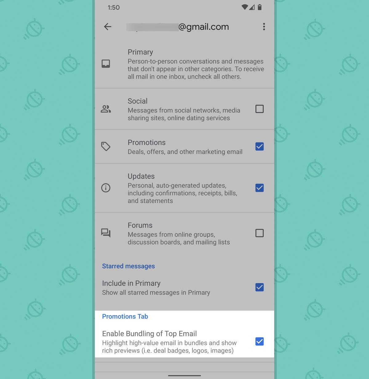 Aplicación de Gmail para Android: configuración de promociones