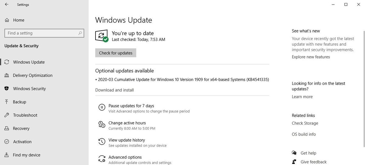 1909 optional update available 2