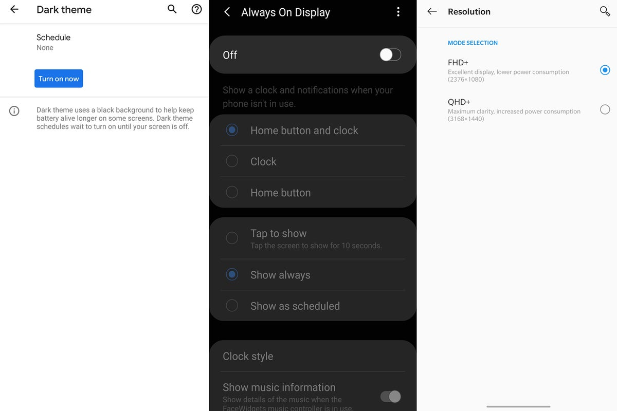 android display options