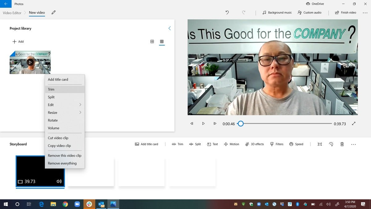 c right mouse onvideo in storyline select trim