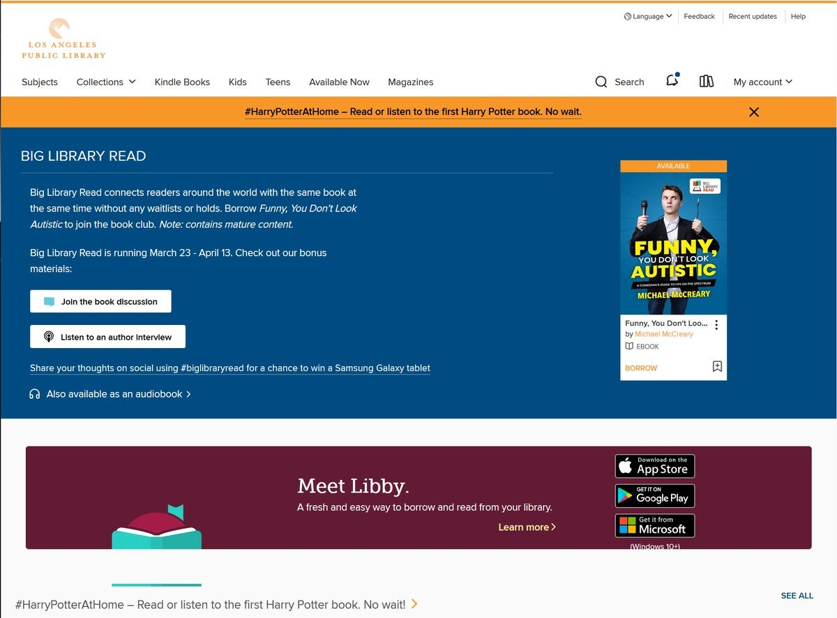 Los Angeles Public Library OverDrive website