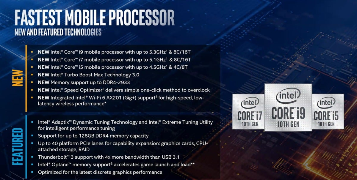 intel comet lake-h new features