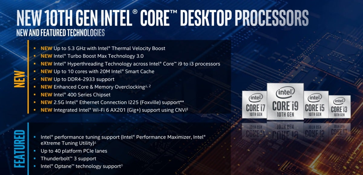 intel comet lake s feature summary