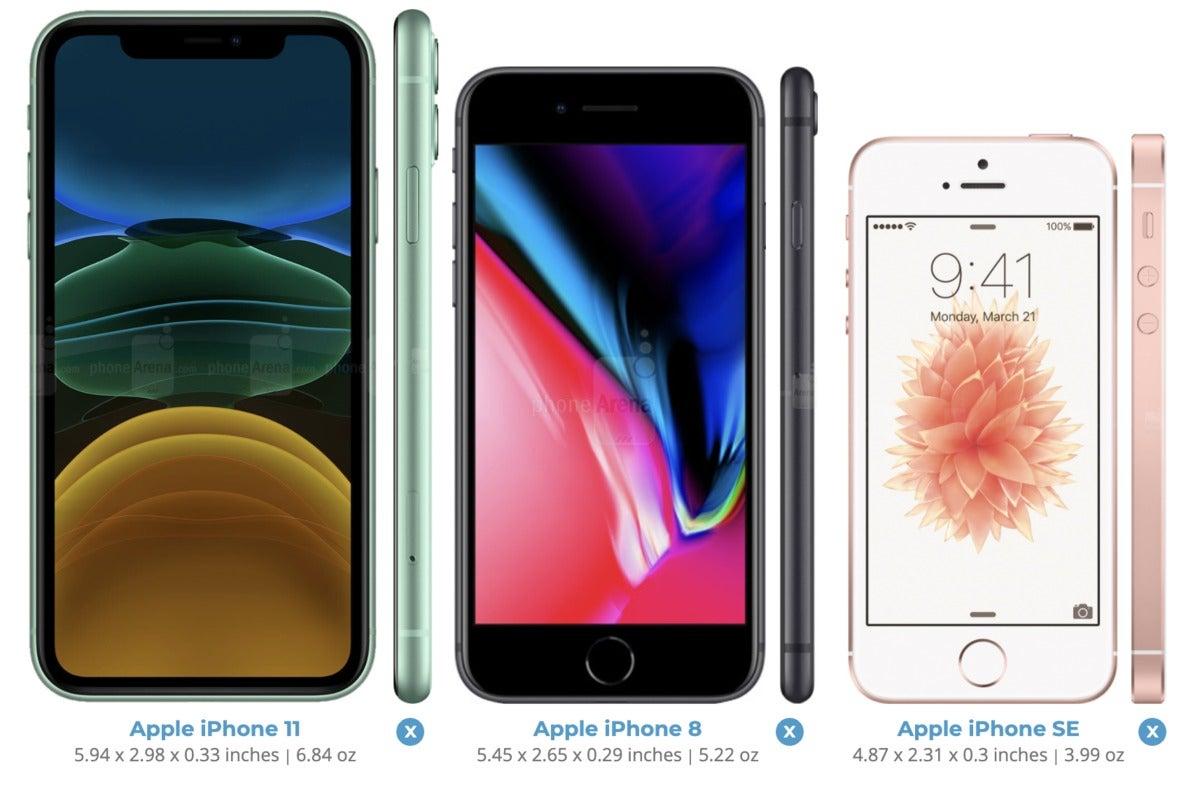 iphone se size compare
