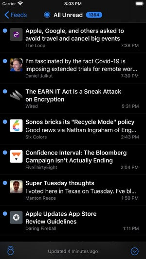 netnewswire 5 for ios iphone article list