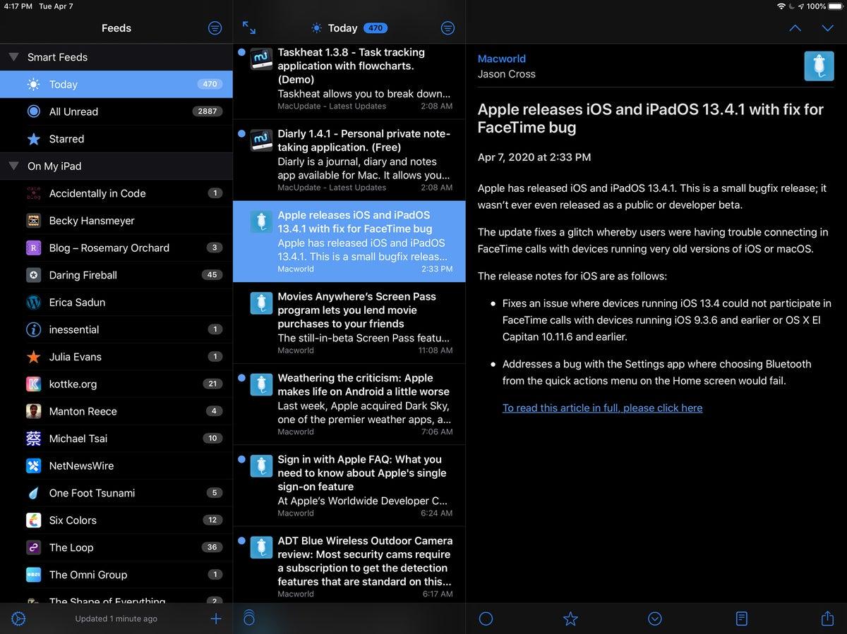 netnewswire 5 ipad smart feeds