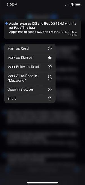 netnewswire 5 iphone contextual menu