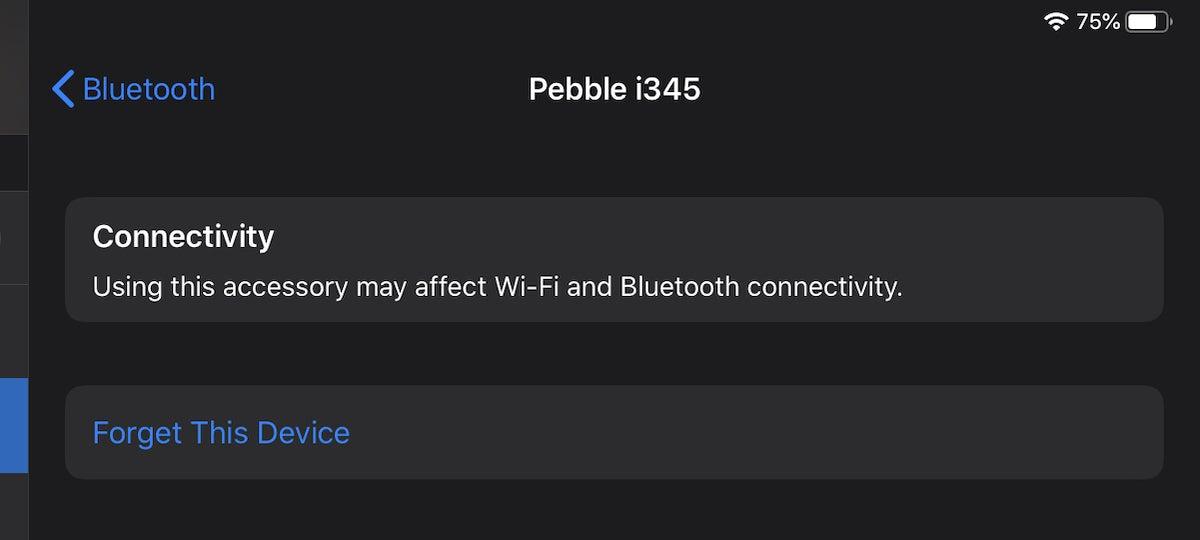 pebble i345 bluetooth error
